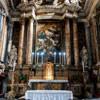 Santissimi Nomi di Gesù e Maria, ołtarz główny, Koronacja Marii, Giacinto Brandi