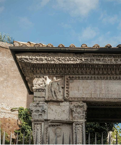 Arch of the Silversmiths (Arco degli Argentari), entablature with an inscription commemorating a foundation from Forum Boarium by bankers and merchants