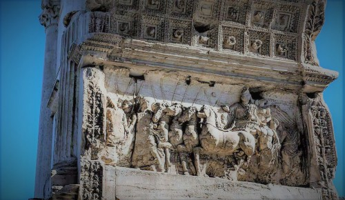 Triumphant arch of Emperor Titus, Forum Romanum, scene depicting the entry of Titus into Rome