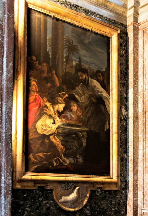 Baciccio, Baptism of a Pagan Queen, painting in the side chapel of the Church of Sant'Andrea al Quirinale