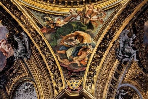 Baciccio, the evangelists in the pendentives of the dome of the Church of Il Gesù