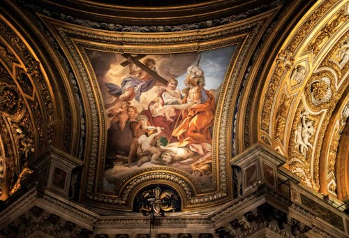 Baciccio, painting of allegories (Fortitude and Charity) in one of the pendentives in the Church of Sant'Agnese in Agone