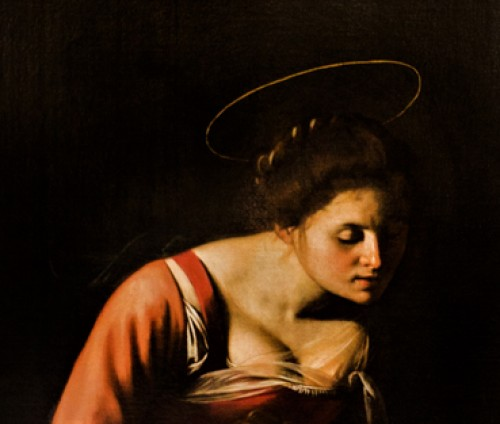 Caravaggio, Madonna z Jezusem i św. Anną (Madonna dei Palafrenieri), fragment - Matka Boska, Galleria Borghese