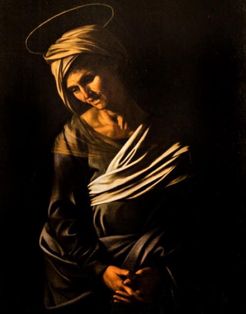 Caravaggio, Madonna z Jezusem i św. Anną (Madonna dei Palafrenieri), fragment, św. Anna, Galleria Borghese