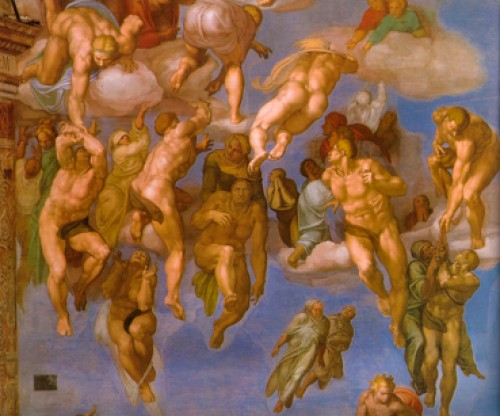 Michelangelo, Sistine Chapel, main altar, The Last Judgement, fragment, pic. Wikipedia