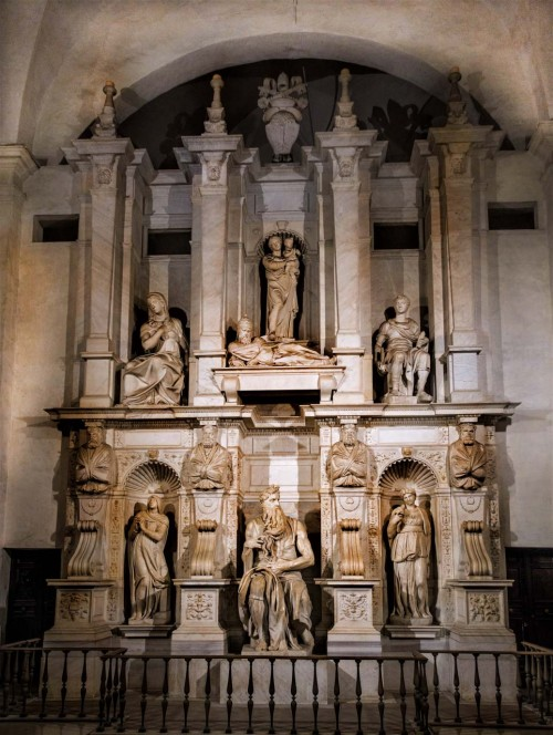 Michelangelo, funerary monument of Pope Julius II (statue of Moses and the lying figure of the pope), Church of San Pietro in  Vincoli