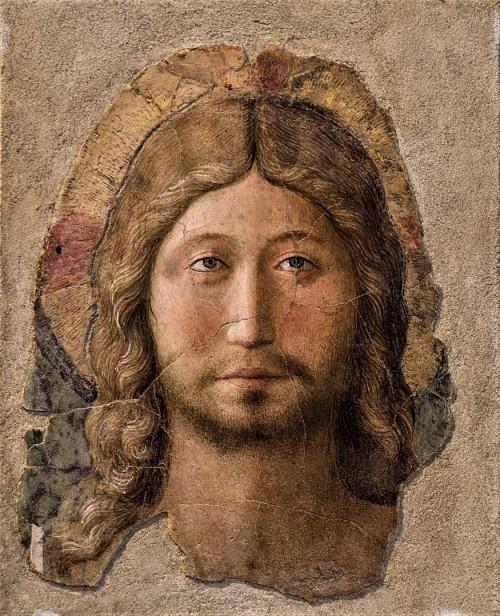 Fra Angelico, Głowa Chrystusa, połowa XV w., fresk, Museo Nazionale - Palazzo Venezia