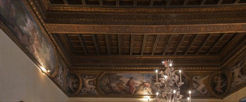 Palazzo Pamphilj, sala Bachusa, Bachus prezentuje Ariadnę bogini Wenus, Andrea Comassei