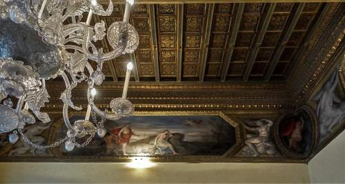 Palazzo Pamphilj, sala Bachusa, Spotkanie Bachusa i Ariadny na wyspie Naksos, w rogu putto z kapeluszem kardynalskim, Andrea Camassei