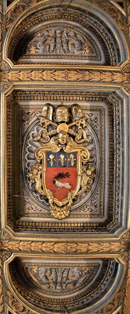 Palazzo Pamphilj, sala Pejzaży, strop z herbem rodu Pamphilj