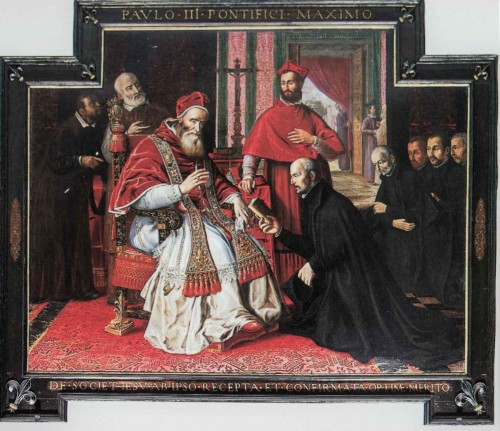 Church of Il Gesù, image of Pope Paul III with Ignatius of Loyola and Jesuits kneeling in front of him, Old Sacristy
