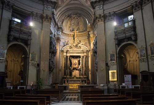 Church of Santa Maria dei Miracoli, view of the interior and presbytery