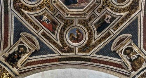 Basilica of Santa Maria del Popolo, church apse, frescoes by Pinturicchio - The Coronation of the Virgin  – sibyls, evangelists and the doctors of the Church