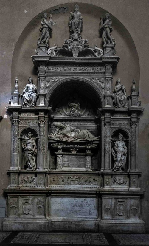 Basilica of Santa Maria del Popolo, church apse (behind the current altar), tombstone of Cardinal Ascanio Sforzy, Andrea Sansovino
