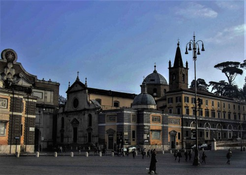 Basilica of Santa Maria del Popolo, church façade along with the buildings of the old monastery