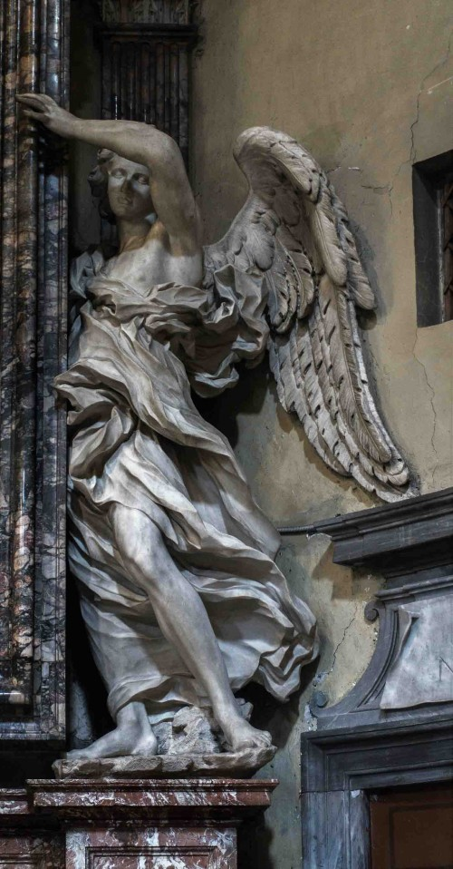 Basilica of Santa Maria del Popolo,  figure of an angel supporting a painting – left transept