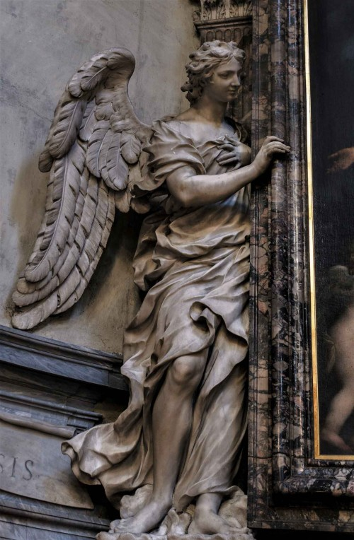 Basilica of Santa Maria del Popolo, angel supporting a painting – right transept