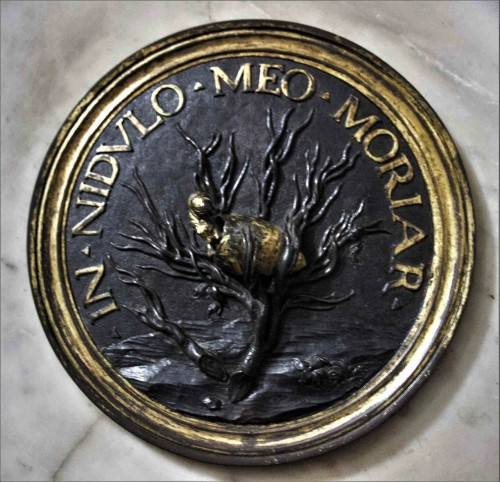 Basilica of Santa Maria del Popolo, funerary monument of the architect Gian Battista Gisleni, bronze medallion with a representation of a cocoon, fragment