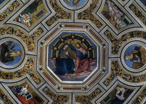 Basilica of Santa Maria del Popolo, vault of the church apse, frescoes by Pinturicchio, Coronation of the Virgin