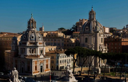 Church of Santa Maria di Loreto, (on the left) and the Church of Santissimo Nome di Maria (on the right) view from the terrace of the Altar of the Fatherland