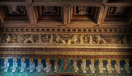 Basilica of Santa Maria in Domnica, mosaic frieze at the base of the apse