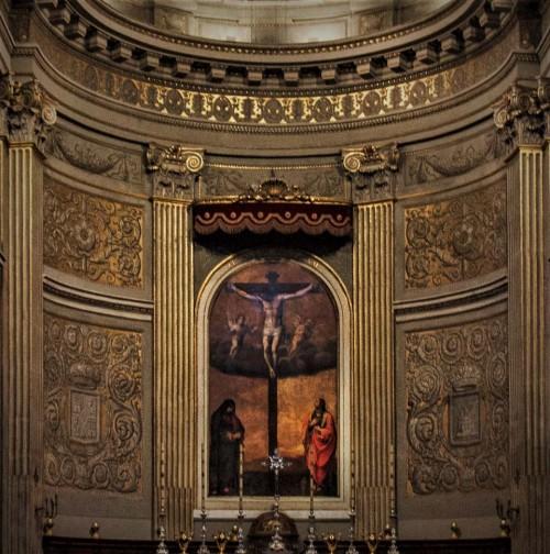 Santa Maria in Monserrato, absyda ołtarza głównego, Ukrzyżowanie, Girolamo Siciolante da Sermoneta