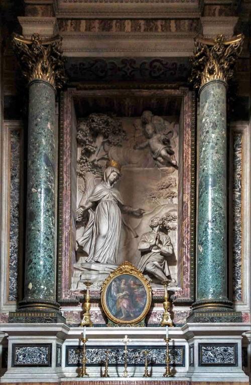 Church of San Nicola da Tolentino, Gavotti Chapel, main altar Apparition of the Blessed Virgin to the Blessed Antonio Botta, Cosimo Fancelli