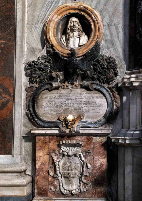 San Nicola da Tolentino, tombstone of Giuseppe Orega, right transept of the church