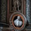 Church of San Nicola da Tolentino, figure of St. John the Baptist with funerary bust of Carlo Gavotti, Antonio Raggi