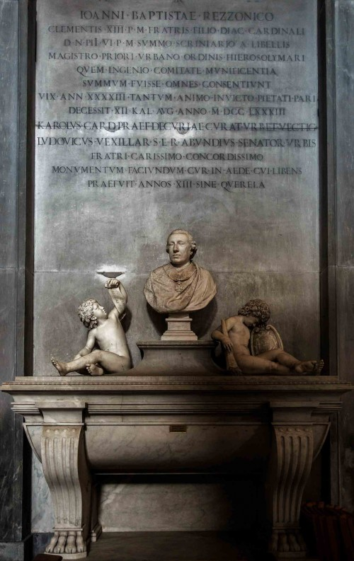 San Nicola in Carcere, pomnik nagrobny kardynała Giovanniego Battisty Rezzonico,Cristopher Hewtson, XVIII w.