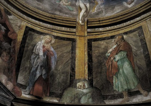 Church of San Pietro in Montorio, Chapel of the Crucifixion, lower part of the fresco Virgin Mary with St. John under the Cross