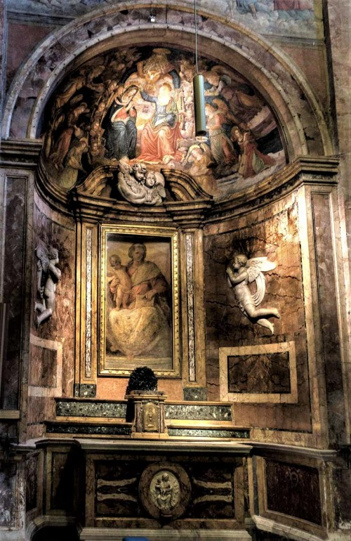 San Pietro in Montorio, kaplica z freskiem Madonna della Lettera, Pomarancio, u góry Koronacja Marii, Baldassare Peruzzi
