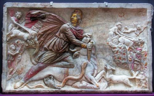 Płyta z wizerunkiem Mitry z mitreum w podziemiach kościoła Santa Prisca, obecnie w Museo Nazionale Romano alle Terme