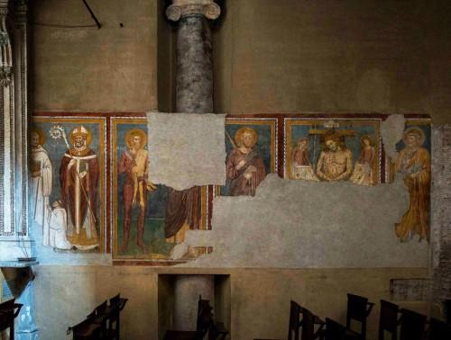 Basilica of Santi Quattro Coronati, frescoes – St. Bernard, bishop, St. Bartholomew, Christ among Angels, next to him S.S. Peter and Paul