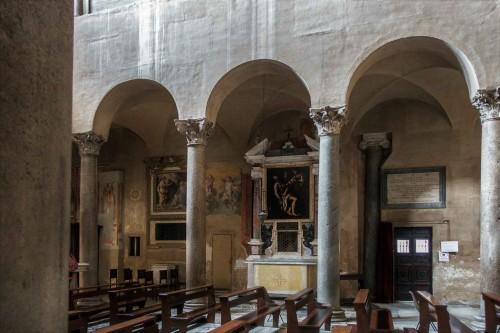 Basilica of Santi Quattro Coronati, left nave with enterance to the monastery cloisters