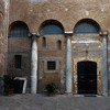 Second courtyard of the Basilica of Sant Quattro Coronati with visible columns from the old church