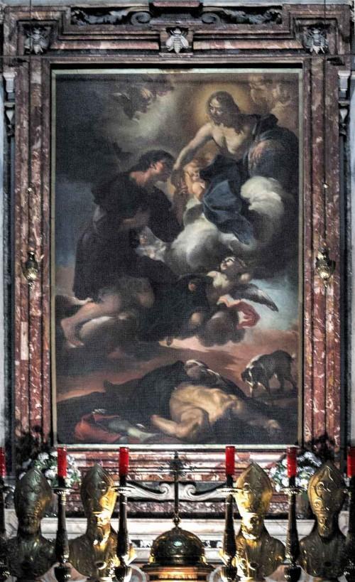 Church of San Rocco, main altar, The Apotheosis of St. Roch, Giacinto Brandi