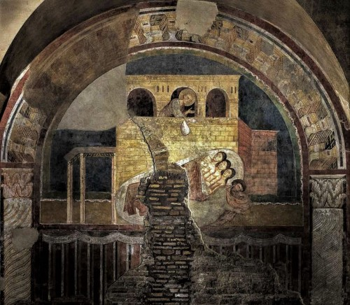 Basilica of San Saba, fresco from the fourth nave – The Miracle of St. Nicholas Giving a Dowry to Three Poor Girls