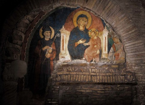 San Saba, fresk czwartej nawy - Madonna z Dzieciątkiem między św. Sabą i św. Andrzejem (częściowo zachowanym)