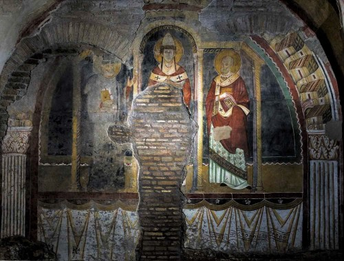 Basilica of San Saba, fresco depicting St. Gregory the Great (in the middle) with saints