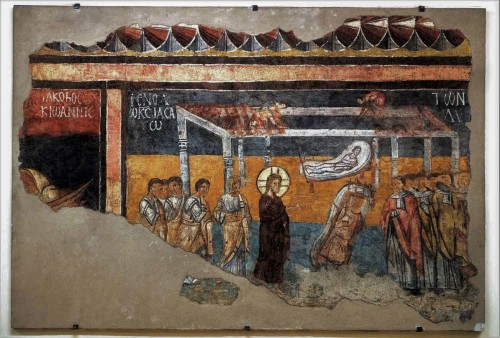 Basilica of San Saba, corridor next to the sacristy – fresco – The Healing of the Paralytic