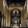 Basilica of San Saba, main nave, open roof truss and Cosmati floor