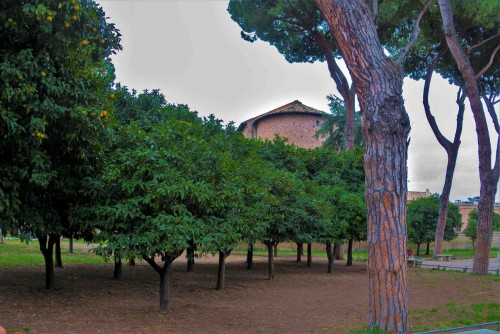 Apse of the Church of Santa Sabina seen from the orange garden (Parco degli Aranci)