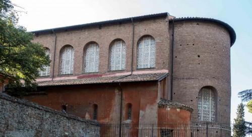 Basilica of Santa Sabina, church apse seen from the orange garden