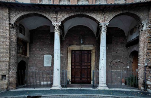 Santa Sabina, side enterance into the church from the Pietro d'Illiria Square