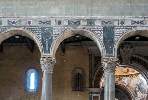 Basilica of Santa Sabina, marble decorations from the V century at the base of the arcades