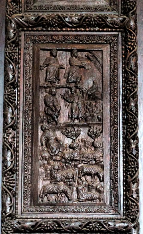 Basilica of Santa Sabina, cypress door from the V century - God Appearing to Moses on Mount Horeb, Burning Bush and Moses Tending Sheep