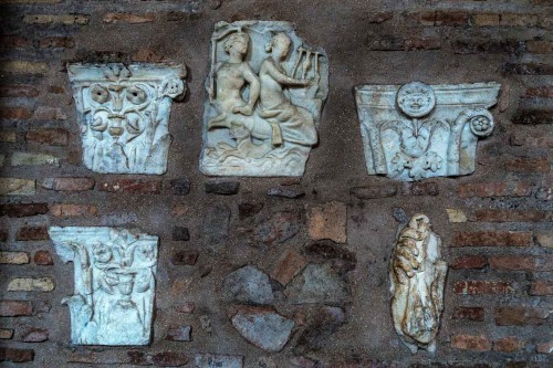 Basilica of Santa Sabina, remains of ancient elements of an old ancient house in the church portico