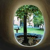 Basilica of Santa Sabina, window in the church vestibule with a view of the friary viridary and the legendary tree of St. Dominic