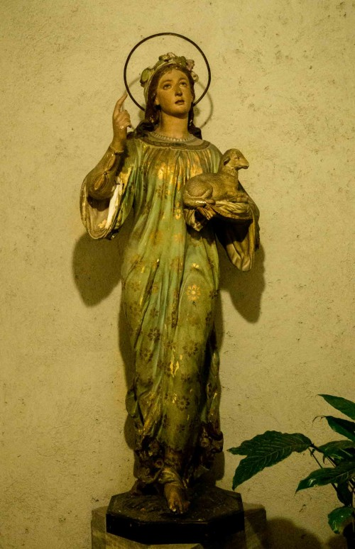 Basilica of Sant'Agnese fuori le mura, St. Agnes – folk-type statue at the enterance to the crypt
